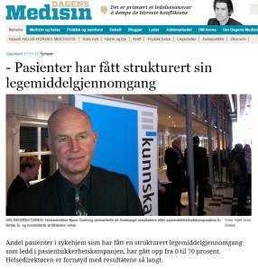 Omtale i Dagens Medisin 17. januar 2013