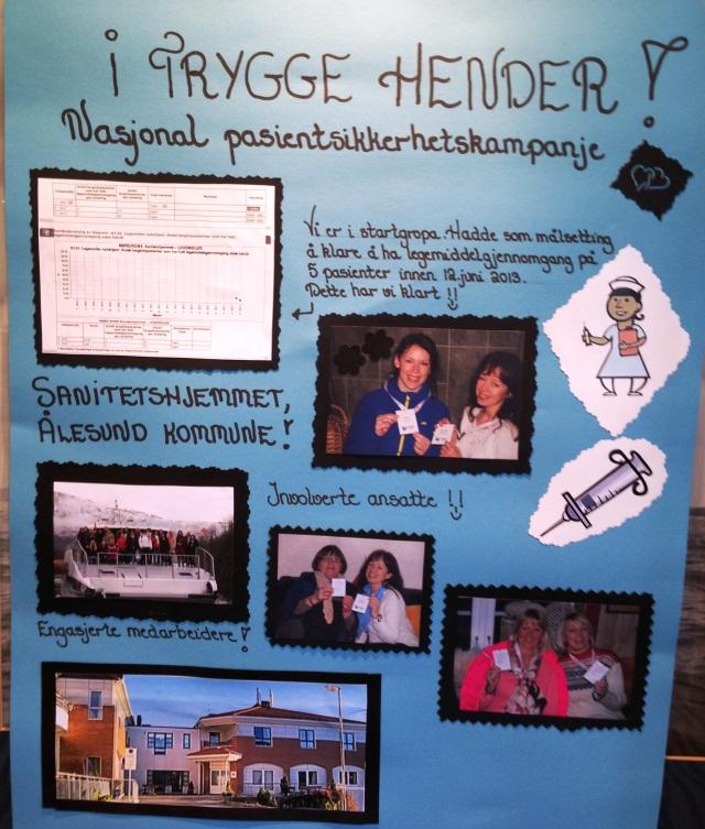 Flere av teamene hadde laget postere for å vise frem det de har jobbet med, her et eksempel fra Sanitetshjemmet sykehjem i Ålesund