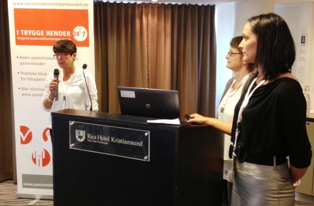 Elisabeth Daljord Halsbog, Astrid Gjul Gjerde og Liv Kristin Fævelen Venaas fra Aure kommun holdt et flott innlegg om sine erfaringer med å jobbe med sikker legemiddelbruk i sykehjem