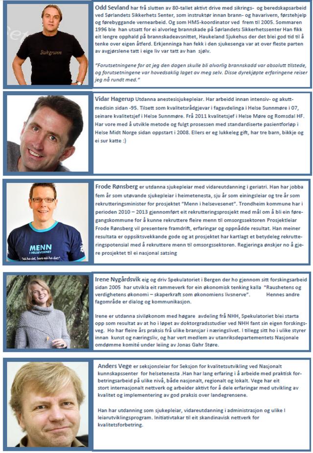 Foredragsholdere Omsorgskonferanse 2013