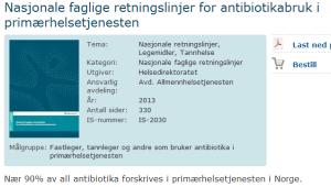 Antibiotikabruk retningslinjer primærhelsetjenesten