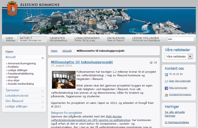 Millionstøtte til teknologiprosjekt i Ålesund