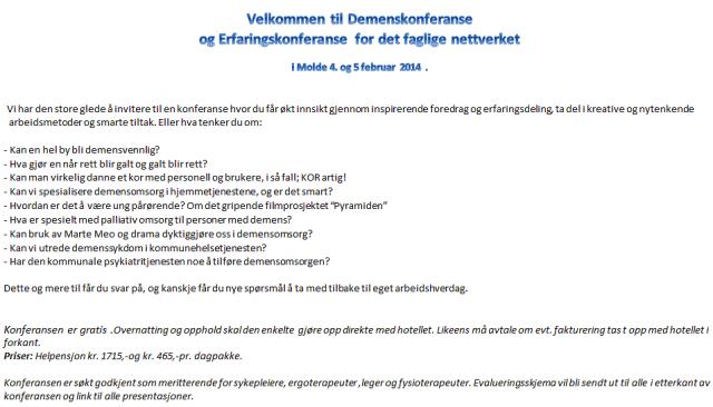 Invitasjon til demenskonferanse