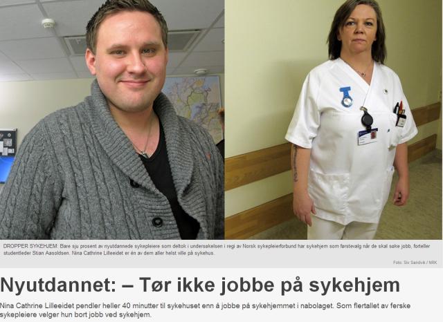 Nyutdannende sykepleiere vil ikke jobbe i sykehjem