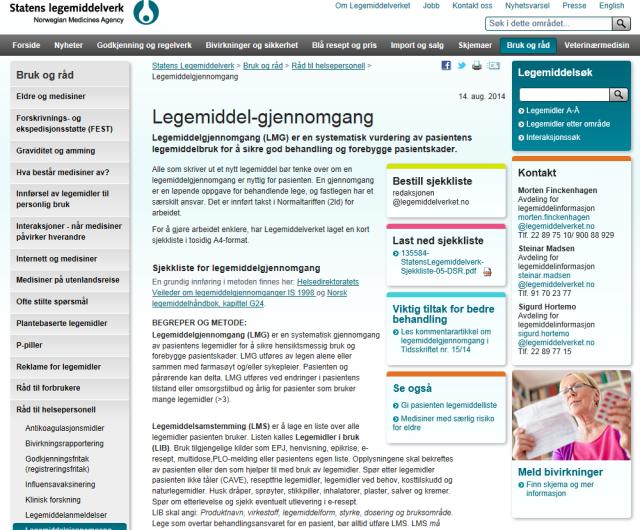 Sjekkliste for LMG faksimile