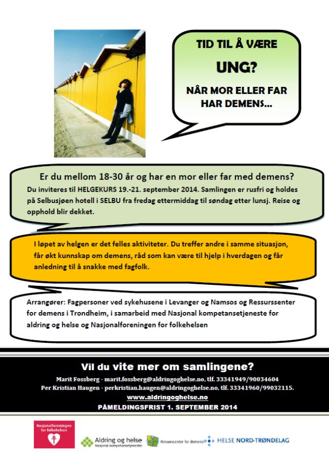 Plakat: Helgekurs for unge pårørende.