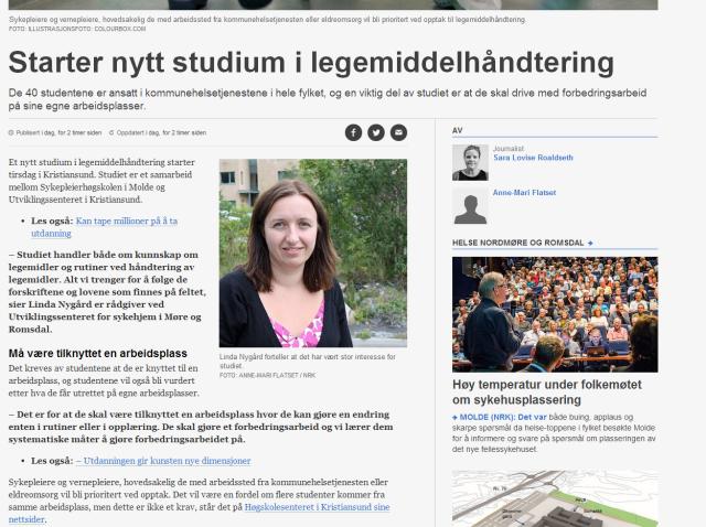 Skjermdump fra NRK Møre og Romsdal sin reportasje om studiet