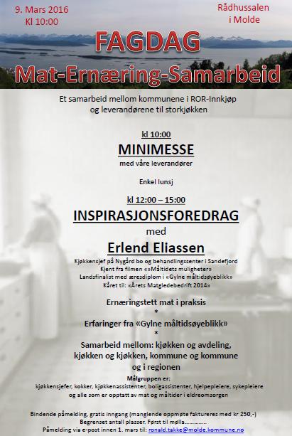 Fagdag om ernæring i Molde 9.mars
