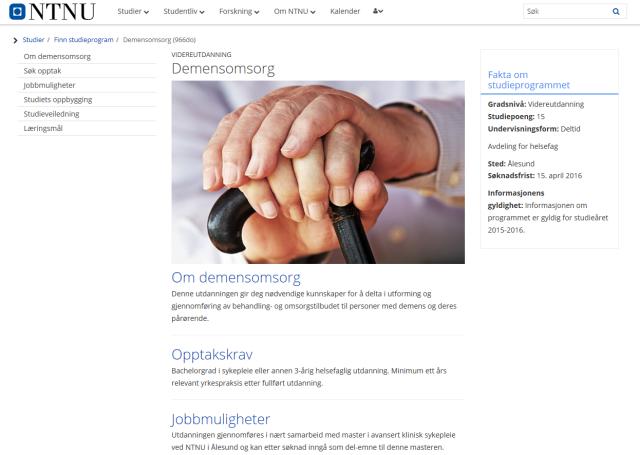 Videreutdanning i demensomsorg i Ålesund