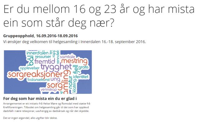 Møre og Romsdal helseforetak tilbud til unge etterlatte