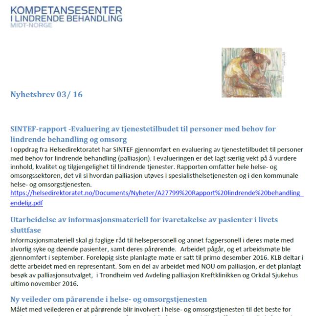 skjermdump-nyhetsbrev-fra-kompetansesenter-i-lindrende-behandling-midt-norge-nr-3-2016